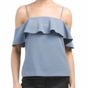 NWT $245 Theory Blue Cold Shoulder Tank Top